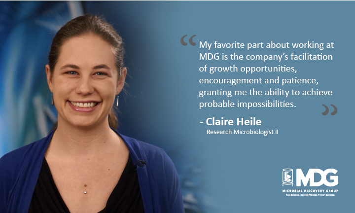 MDG's Research Microbiologist II, Claire Heile